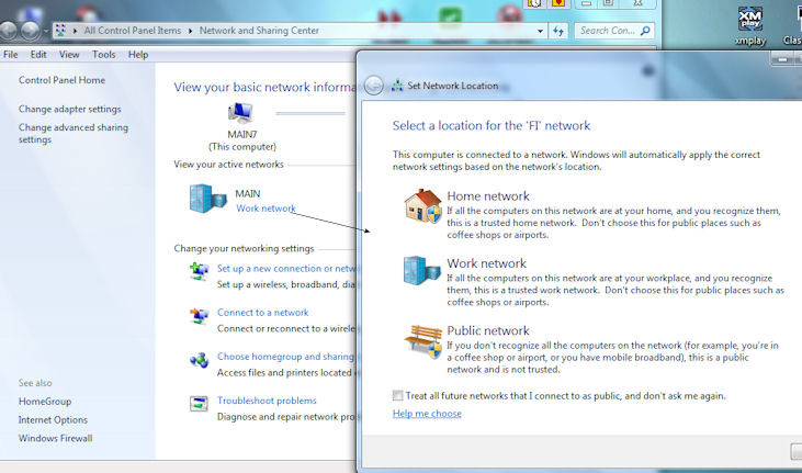 how to change network location to home windows 7